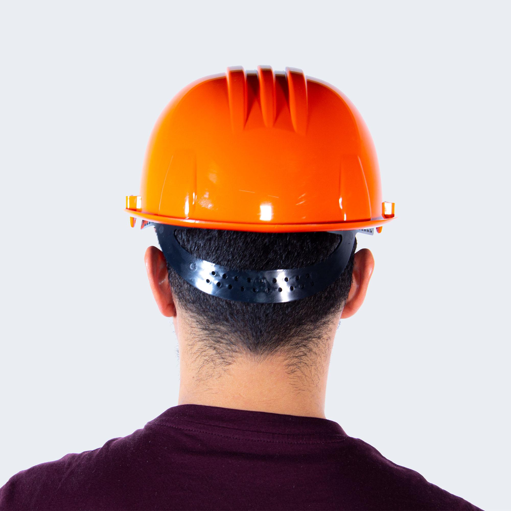 casco naranja back